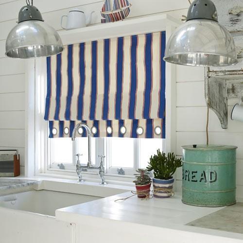 dekostoff mit maritimen streifen blau rot stoffe online. Black Bedroom Furniture Sets. Home Design Ideas